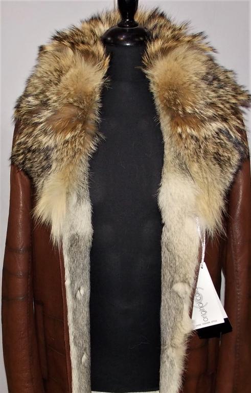 """Мужская кожаная куртка на меху волка """"Вульф-Виски"""""""